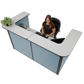 "Interion™ U-Shaped Reception Station, 88"" W x 44""D x 44""H, Gray counter, Blue Panel"