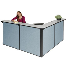 """L-Shaped Reception Station, 80""""W x 80""""D x 44""""H, Gray Counter, Blue Panel"""