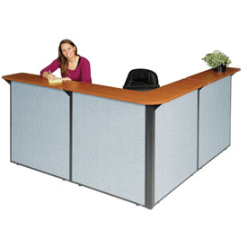 "L-Shaped Reception Station, 80""W x 80""D x 44""H, Cherry Counter, Blue Panel"