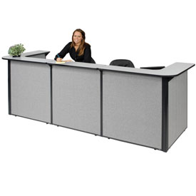 "Interion™ U-Shaped Reception Station, 124""W x 44""D x 44""H, Gray Counter, Gray Panel"