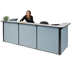 "U-Shaped Reception Station, 124""W x 44""D x 44""H, Gray counter, Blue Panel"