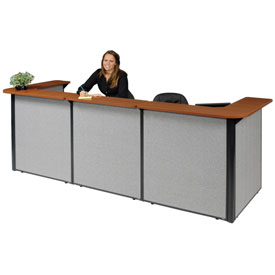 "Interion™ U-Shaped Reception Station, 124""W x 44""D x 44""H, Cherry Counter, Gray Panel"