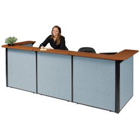 "Interion™ U-Shaped Reception Station, 124""W x 44""D x 44""H, Cherry Counter, Blue Panel"