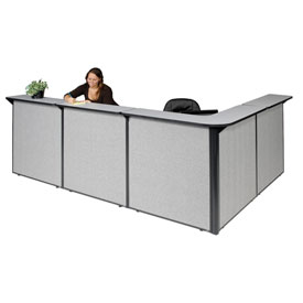 "L-Shaped Reception Station, 116""W x 80""D x 44""H, Gray Counter, Gray Panel"