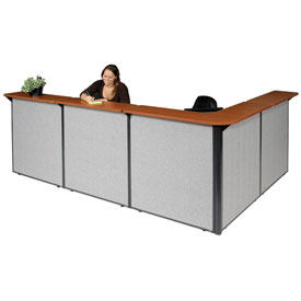 "L-Shaped Reception Station, 116""W x 80""D x 44""H, Cherry Counter, Gray Panel"