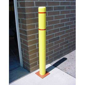 """4""""x 52"""" Bollard Cover - Yellow Cover/Red Tapes"""