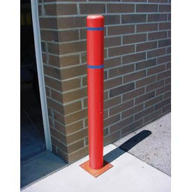 "4""x 52"" Bollard Cover - Red Cover/Blue Tapes"