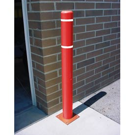 "4""x 52"" Bollard Cover - Red Cover/White Tapes"