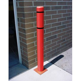"4""x 52"" Bollard Cover - Red Cover/Black Tapes"