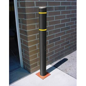 "4""x 52"" Bollard Cover - Black Cover/Yellow Tapes"