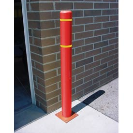 "4""x 64"" Bollard Cover - Red Cover/Yellow Tapes"