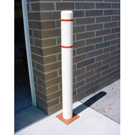 """4""""x 64"""" Bollard Cover - White Cover/Red Tapes"""