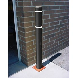 "4""x 64"" Bollard Cover - Black Cover/White Tapes"