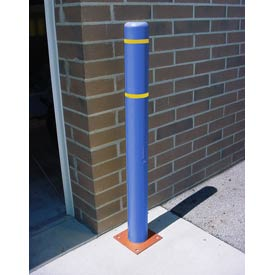 "7""x 60"" Bollard Cover - Blue Cover/Yellow Tapes"