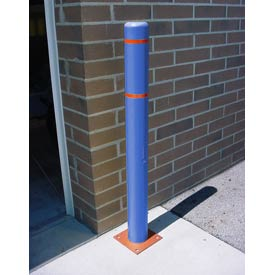 "7""x 72"" Bollard Cover - Blue Cover/Red Tapes"