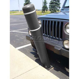 "72""H FlexBollard™ - Natural Ground Installation - Black Cover/White Tapes"