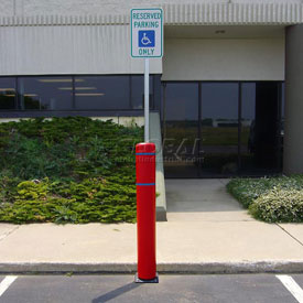 "52""H FlexBollard™ with 8""H Sign Post - Concrete Installation - Red Cover/Blue Tapes"
