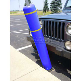 "52""H FlexBollard™ with 8""H Sign Post - Concrete Installation - Blue Cover/Yellow Tapes"