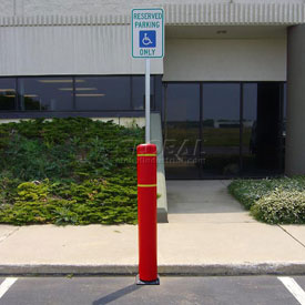 "52""H FlexBollard™ with 8""H Sign Post - Asphalt Installation - Red Cover/Yellow Tapes"