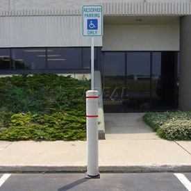 "52""H FlexBollard™ with 8""H Sign Post - Asphalt Installation - White Cover/Red Tapes"