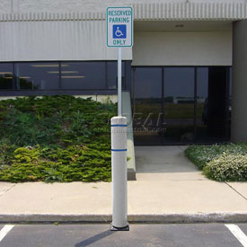 "52""H FlexBollard™ with 8""H Sign Post - Asphalt Installation - White Cover/Blue Tapes"