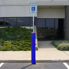 "52""H FlexBollard™ with 8""H Sign Post - Asphalt Installation - Blue Cover/Red Tapes"