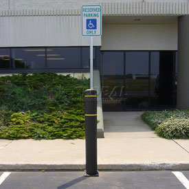 "52""H FlexBollard™ with 8""H Sign Post - Asphalt Installation - Black Cover/Yellow Tapes"