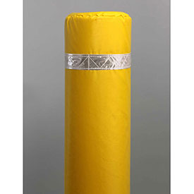 "50"" Soft Polyethylene Bollard Cover - Yellow Cover/White Tapes - Pkg Qty 6"