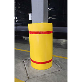 "44""H x 36""W Soft Nylon Column Protector -  Yellow Cover/Red Tapes"