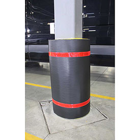 "44""H X 36""W Soft Nylon Column Protector -  Black Cover/Red Tapes - Pkg Qty 6"