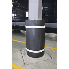 "44""H x 48""W Soft Nylon Column Protector -  Black Cover/White Tapes"