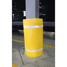 "44""H X 60""W Soft Nylon Column Protector -  Yellow Cover/White Tapes - Pkg Qty 6"