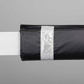 "72""W Soft Nylon Gate Arm Cover - Black Cover/White Tapes - Pkg Qty 6"