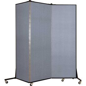 Screenflex 3 Panel Mobile Room Divider - Fabric Color: Light Blue