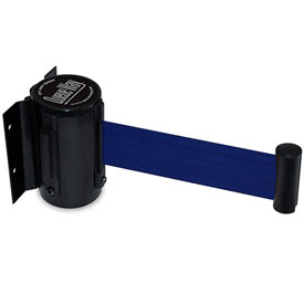 Tensator Queueway Black Wall Mount 7.5'L Blue Retractable Belt Barrier