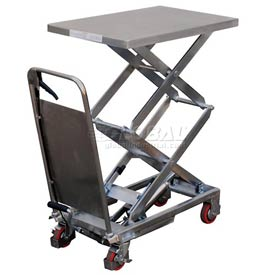 Vestil Stainless Steel Mobile Scissor Lift Table CART-800-D-PSS 800 Lb. Capacity by