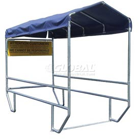 "VersaCart® Double Shopping Cart Corral without Divider with Blue Canopy 12'L x 60""W"