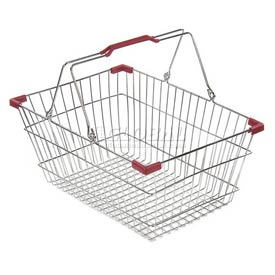 VersaCart ® Wire Shopping Basket 28 Liter With Red Plastic Grips - Pkg Qty 20