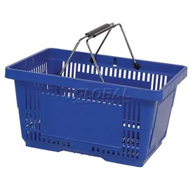 VersaCart ® Blue Plastic Shopping Basket 28 Liter With Black Plastic Grips Wire Handle - Pkg Qty 12