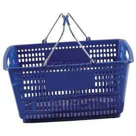 VersaCart ® Blue Plastic Shopping Basket 30 Liter With Black Plastic Grips Wire Handle - Pkg Qty 20