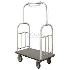 Glaro Ball Top Bellman Cart 48x25 Satin Aluminum Gray Carpet, 4 Rubber Wheels