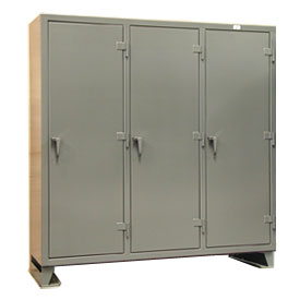 Strong Hold® Multi-Shift Personal Locker 66-MS-2415 - Single Tier 74x24x78 3 Door Gray