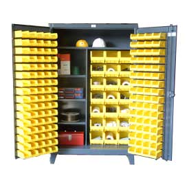 Strong Hold® Heavy Duty Bin Cabinet 46-BSCW-241-3WLR - With 165 Bins And Shelves 48x24x78