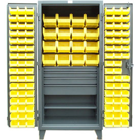Strong Hold® Heavy Duty Bin Cabinet 36-BBS-241-4DB - With 110 Bins And Drawers 36x24x78