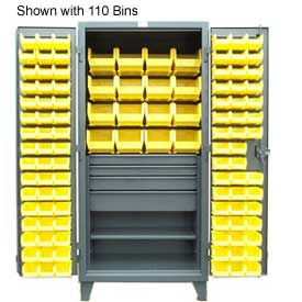 Strong Hold® Heavy Duty Bin Cabinet 46-BBS-241-4DB - With 164 Bins And Drawers 48x24x78
