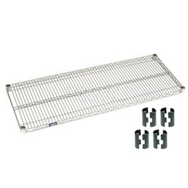 Nexelate Silver Epoxy Wire Shelf 48 x 18 with Clips