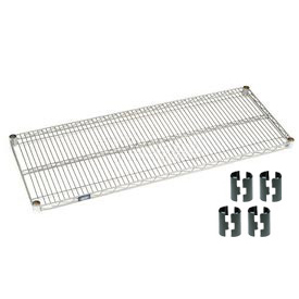 Nexelate Silver Epoxy Wire Shelf 36 x 24 with Clips