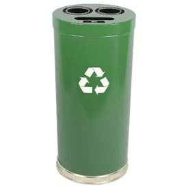 "3-In-1 Steel Recycling Container Green 15""Dia x 32""H"