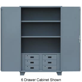 "Global™ Heavy Duty Cabinet HG260 Solid Door with Drawers, Welded 60""W x 24""D x78""H"