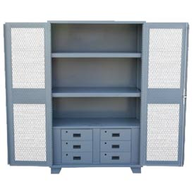 "Global&#8482 Heavy Duty Cabinet HU248 Expanded Metal Door with Drawers, Welded 48""W x 24""D x 78""H"